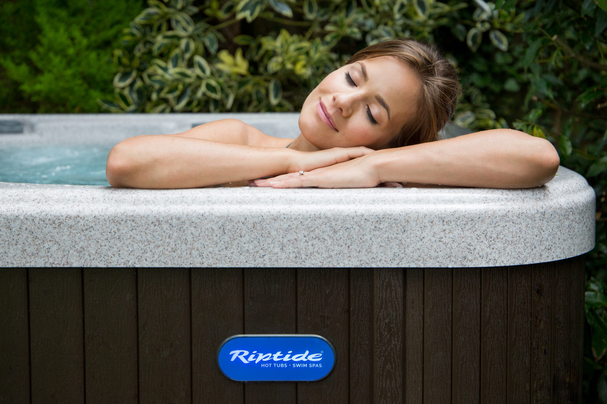 enjoying the riptide hot tub